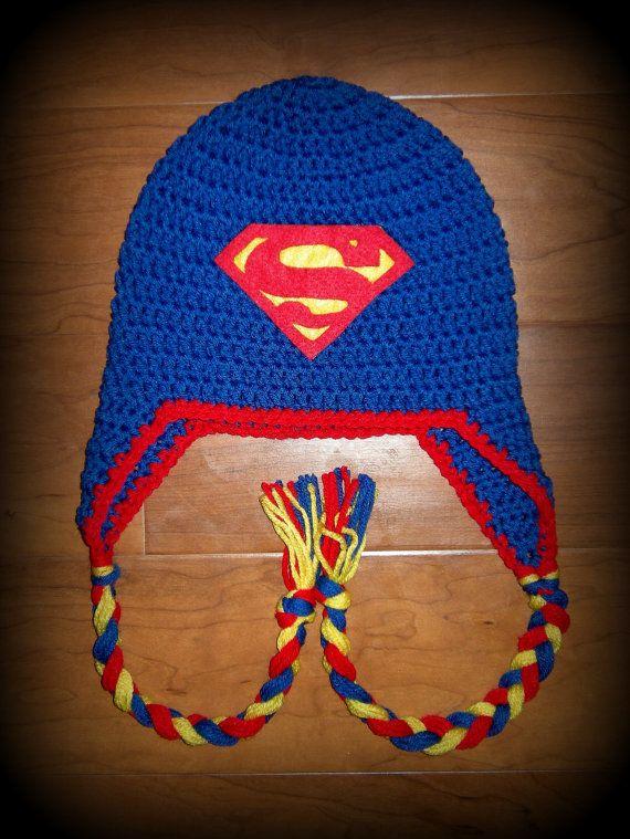 Chico o chica, Superman, Superman Hat, sombreros del ganchillo, niña, niño, Superman del sombrero del ganchillo, gorro, orejeras, HECHOS a la MEDIDA