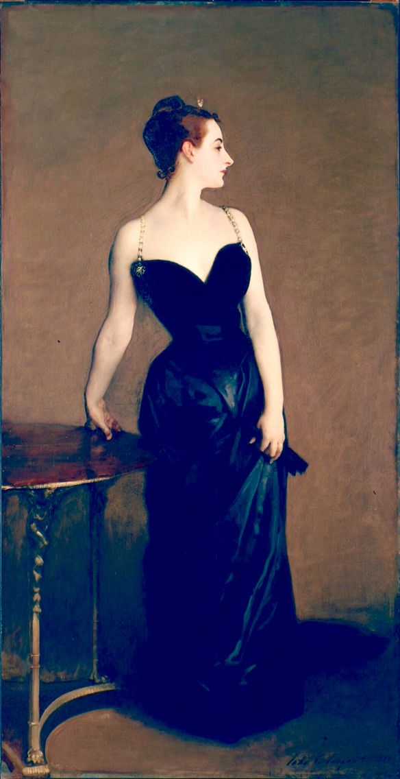 Portrait of Madame X_ John Singer Sargent  Portrait of Madame X is the informal title of a portrait painting by John Singer Sargent of a young socialite named Virginie Amélie Avegno Gautreau, wife of Pierre Gautreau.  The model was an American expatriate who married a French banker, and became notorious in Parisian high society for her beauty and rumored infidelities. She wore lavender powder and prided herself on her appearance.  Madame X was painted not as a commission, but at the request…