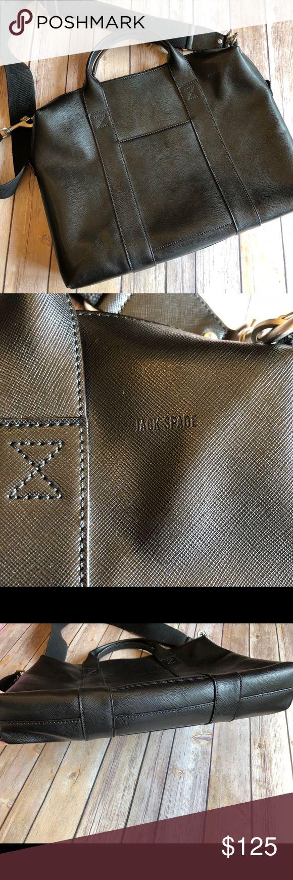 """Jack Spade Men's Wesson Davis Briefcase Black Jack Spade Men's Black Wesson Davis Leather Briefcase.   Height 13"""", 17"""", 3"""" bottom depth, 20"""" long strap drop, 2.5"""" handle drop Jack Spade Bags Briefcases"""