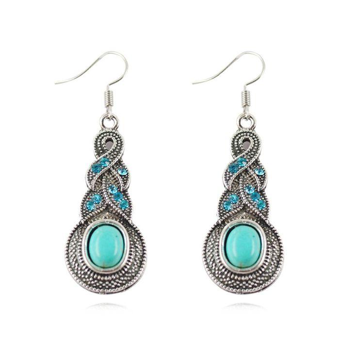 Fashion Women's Long Drop Earrings Silver Brilliant Turquoise Dangle  earrings For women-in Drop Earrings from Jewelry on Aliexpress.com | Alibaba Group