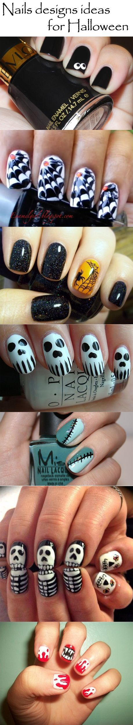 cute Halloween nails; nails designs ideas for Halloween... love the black sparkles!: