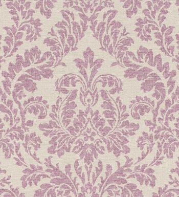 Papel pintado damasco efecto textil rosa claro fondo beige pálido - 1006486