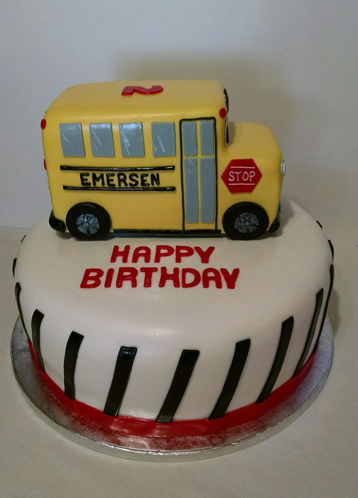 29 Best Zens Second Birthday Images On Pinterest School Bus Cake