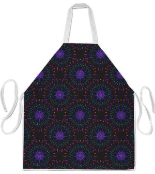 Fireworks in Electric Blue Apron by Terrella.  A seamless pattern of colourful lines and dots radiating out from the centre.  This is the electric blue version.