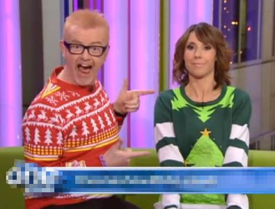Cheesy Christmas Jumpers as worn by Chris Evans and Alex Jones on BBC's The One Show Dec'11