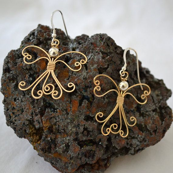 Wire wrapped Angel earrings 14K gold filled by Untwistedsister, $35.00
