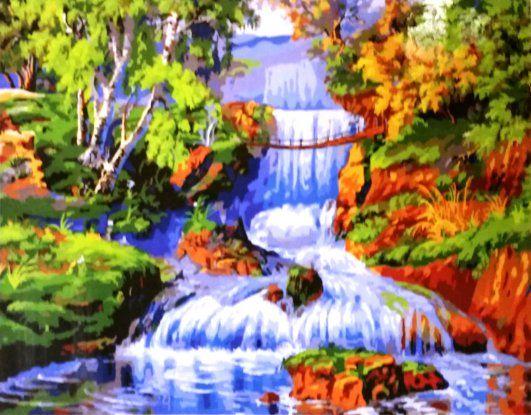 Водопад Размер 40*50см, цена 890р. Звоните 902-582 #картина56 #картиныпономерам #картиныпономераморенбург #хобби #оренбург
