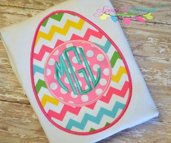 Easter Egg Monogram Embroidered Tee Custom by spoiledbratdesignz, $20.00