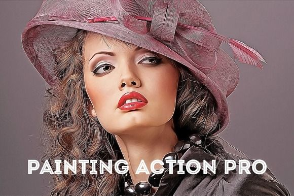Painting Action Pro! (Photoshop) by Krystal Designs Co. on Creative Market