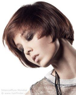 Contemporary back angled bob for brown hair.