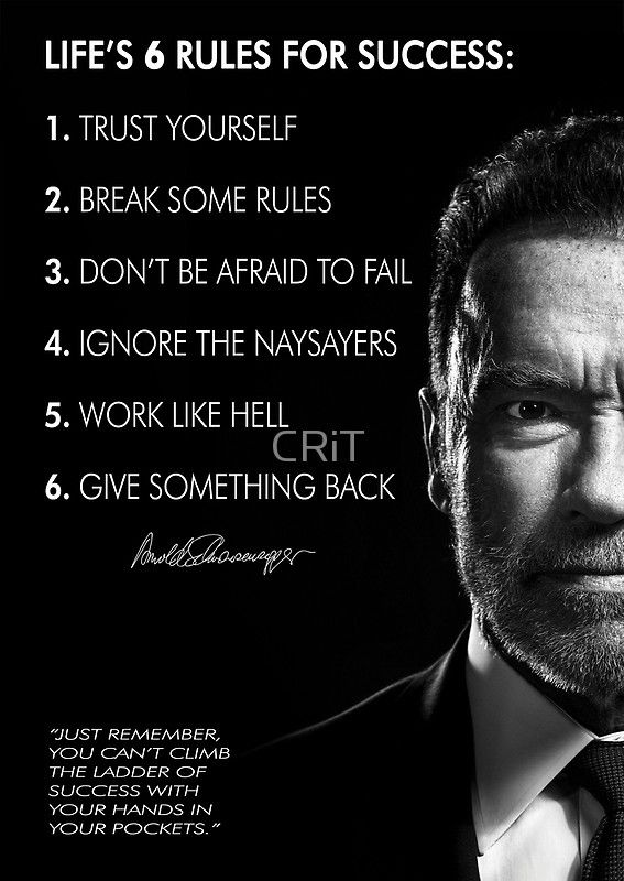 Arnold Schwarzenegger S 6 Rules For Success Posters By Crit
