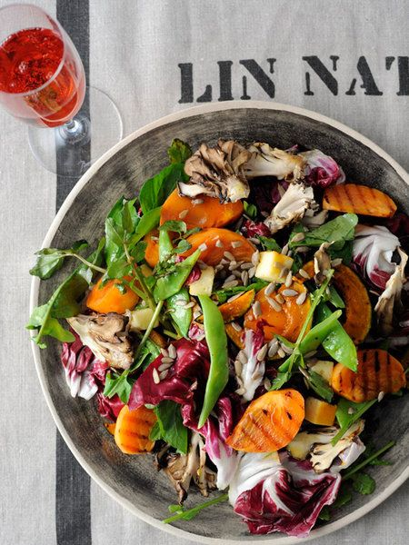 Recipe : Roasted Persimmon, Pumpkin and Maitake Mushroom Salad with Honey Dressing/ローストした柿と野菜のサラダ ハニードレッシング