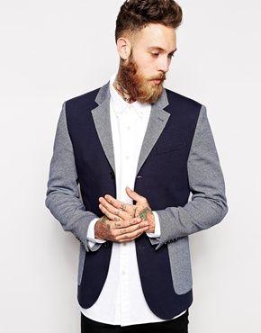 ASOS+Slim+Fit+Blazer+In+Colour+Block+Jersey