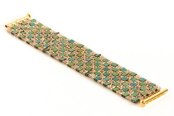 Seed Bead Bracelet using Malachite Green by KKbraceletsandmore