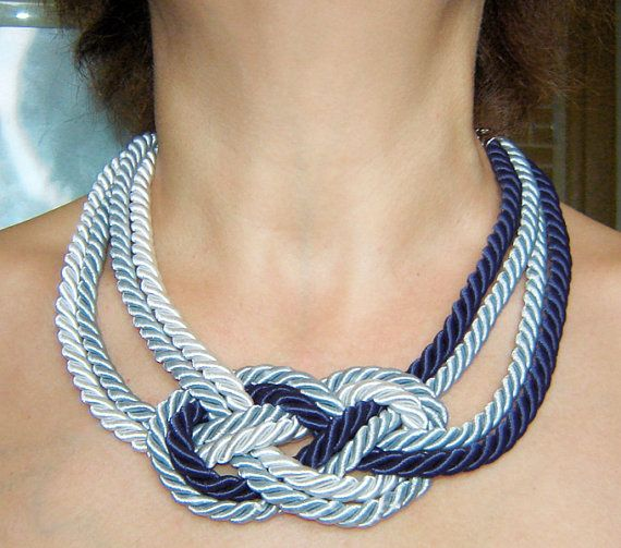 FREE SHIPPING. Navy blue, grey and white sailor knot necklace. Silk rope.