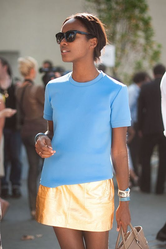 Love this color combo: Baby Blue, Blue Gold, Casual Chic, Paris Fashion Week, Color Combos, Leather Skirts, Metals Skirts, Street Styles, Blue Shirts