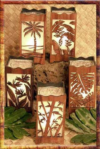 Koa wood lanterns - I have the one with the Bird of Paradise