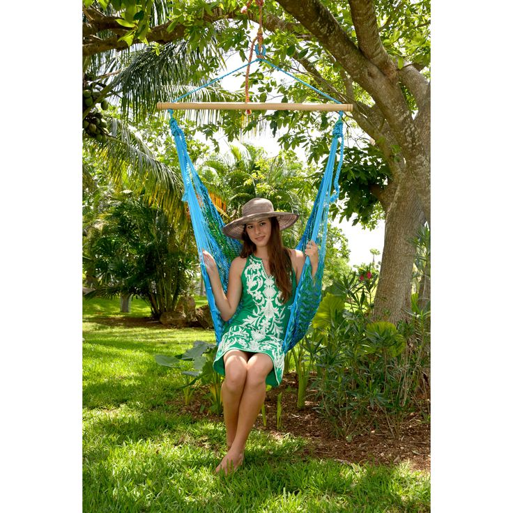 Island Bay Handmade Mayan Hammock Chair - The ultimate seat for all ages, shapes, and sizes. This comfy hammock chair hangs from a 40-inch sturdy wood bar, and features easy single-point attac...