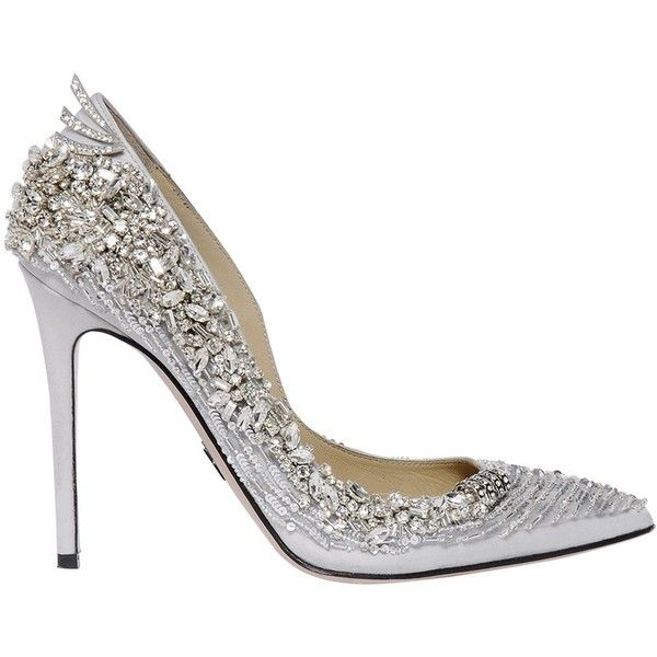 Zuhair Murad Women 100mm Swarovski Silk Satin Pumps (2 076 AUD) ❤ liked on Polyvore featuring shoes, pumps, silver, leather sole shoes, embellished shoes, pointed toe high heels shoes, pointy-toe pumps and high heeled footwear