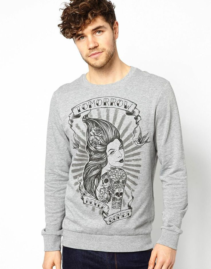 New Look Sweatshirt with Tattoo Print