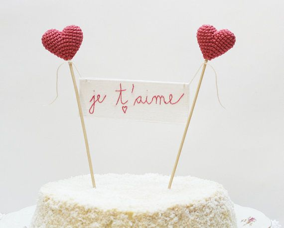 Wedding Cake Topper Je T'aime French Sign Banner by cherrytime, €32.87