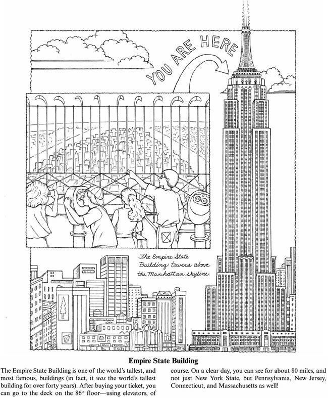 New York for Kids: 25 Big Apple Sites to Color -- 3 sample pages