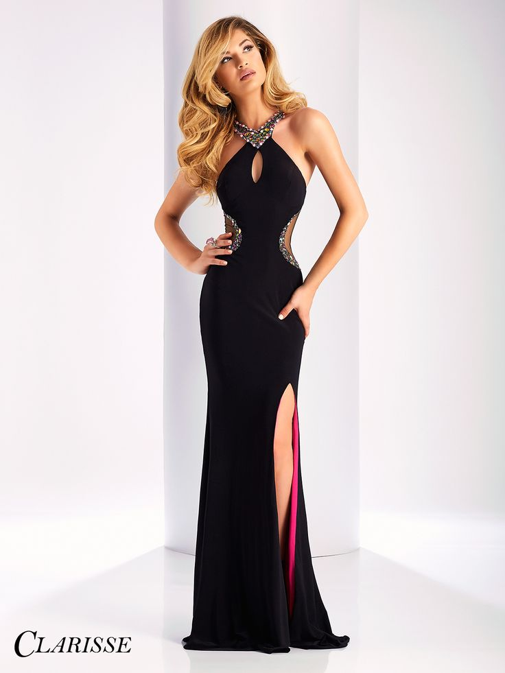 Clarisse Prom Dress 3178. Fitted dress with colorful lining and crystals, a halter neckline and mesh cutouts. COLOR: Black/Multi SIZE: 00-16 Get this colorful look by finding your Clarisse retailer at the link below! http://clarisse.com/locator/index.php