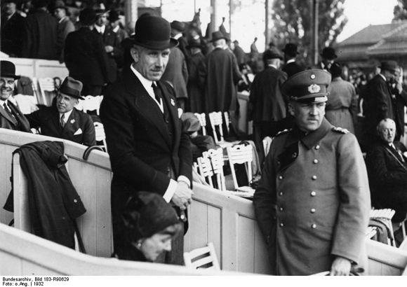 Chancellor Franz von Papen with his Wife and Reichswehr Minister Kurt von Schleicher in the VIP Box at the Racetrack in Berlin's Grunewald (1932)