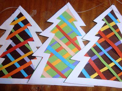 #knutselen met #kinderen tijdens #kerst: #DIY Strepen kerstboom