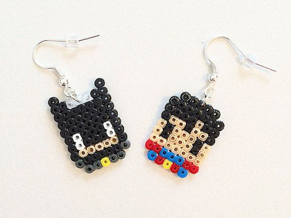 A pair of super-awesome Batman Vs. Superman inspired earrings! Handmade using mini Hama / Perler beads with silver-plated earrings. The design