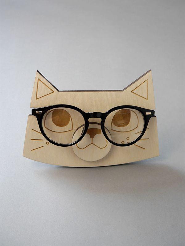 cat stand for glasses kedi wood eco handmade illustration lasercut #cat #lasercut