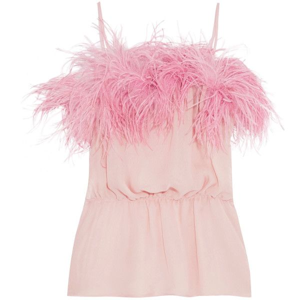 Prada Feather-trimmed crinkled silk-chiffon camisole ($890) ❤ liked on Polyvore featuring tops, prada, spaghetti strap cami, slimming camisole, ruffle cami, pink camisole and pink cami