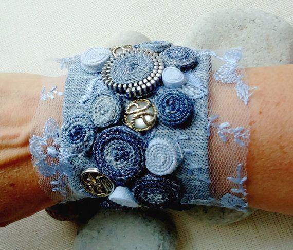 Blue Jean Denim & Lace Cuff Bracelet-Denim Cuff by eMDdesign