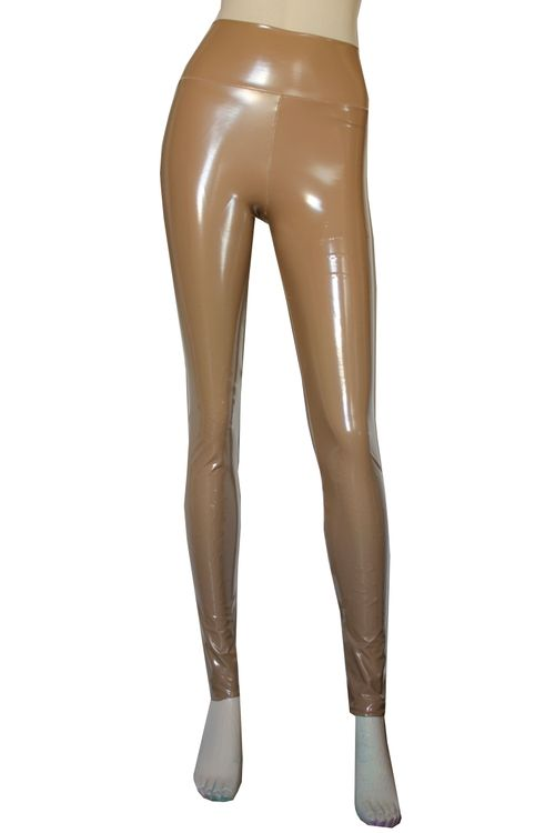 d08d47fb0405e2 Vinyl leggings. Beige faux leather tights. High rise pvc pants. Sexy plus  size clothing.