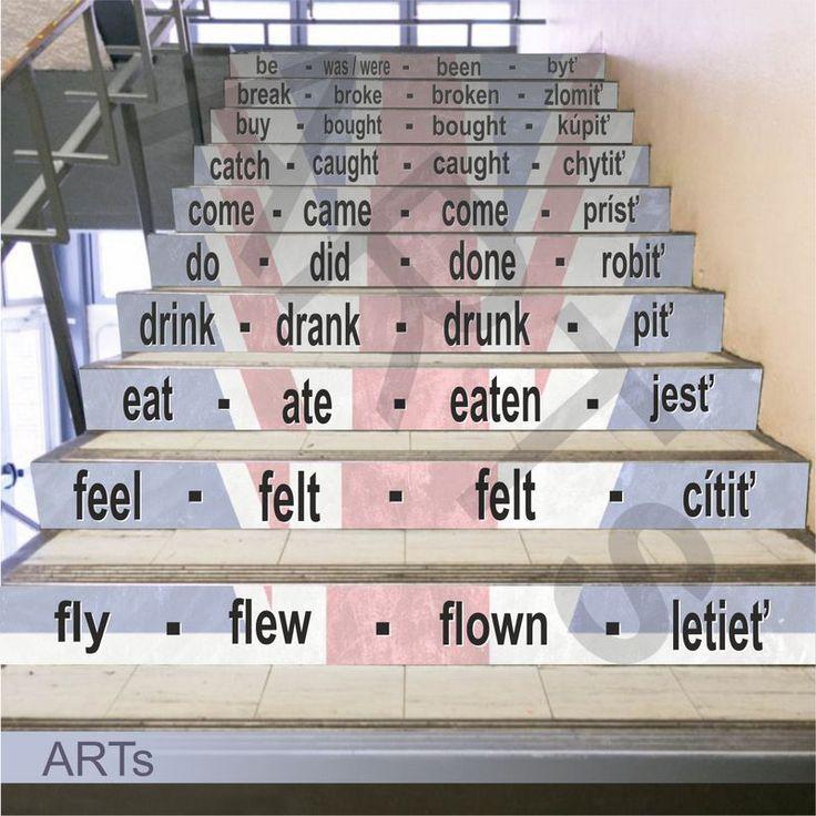 (3606f) #Nálepka na #schody - Nepravidelné slovesá z ANJ #artsablony