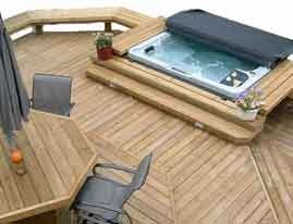 141 best images about deck design ideas for swimming pools hot tubs and spas on pinterest hot for Swimming pools with built in tables