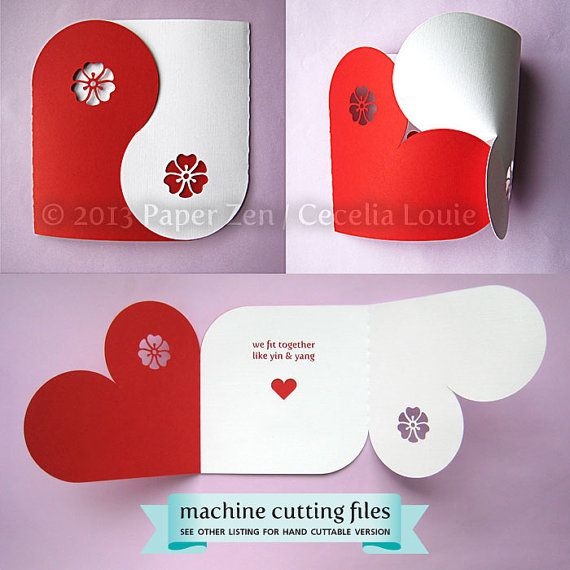 Collection Valentine Yin Yang carte boîte de par PaperZenShop
