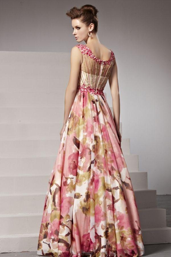 Robe soiree a fleurs
