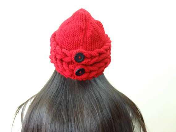 Red Wool Hat Beanie by SwomanStore on Etsy