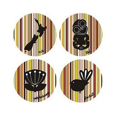 Striped Kiwiana Coasters -  NZ map, Tiki (Maori carving), Pohutakawa tree, Fantail Bird.