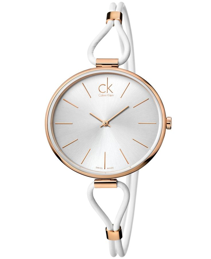 ck Calvin Klein Watch, Women's Swiss Selection White Leather Cord Strap 38mm K3V236L6 - ck Calvin Klein - Jewelry & Watches - Macy's