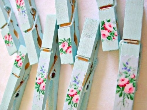 To make pretty pegs, paint wooden pegs, add nail decal, then varnish. Shabby chic. I write the names of family and friends to the other side as reminders to pray for them.