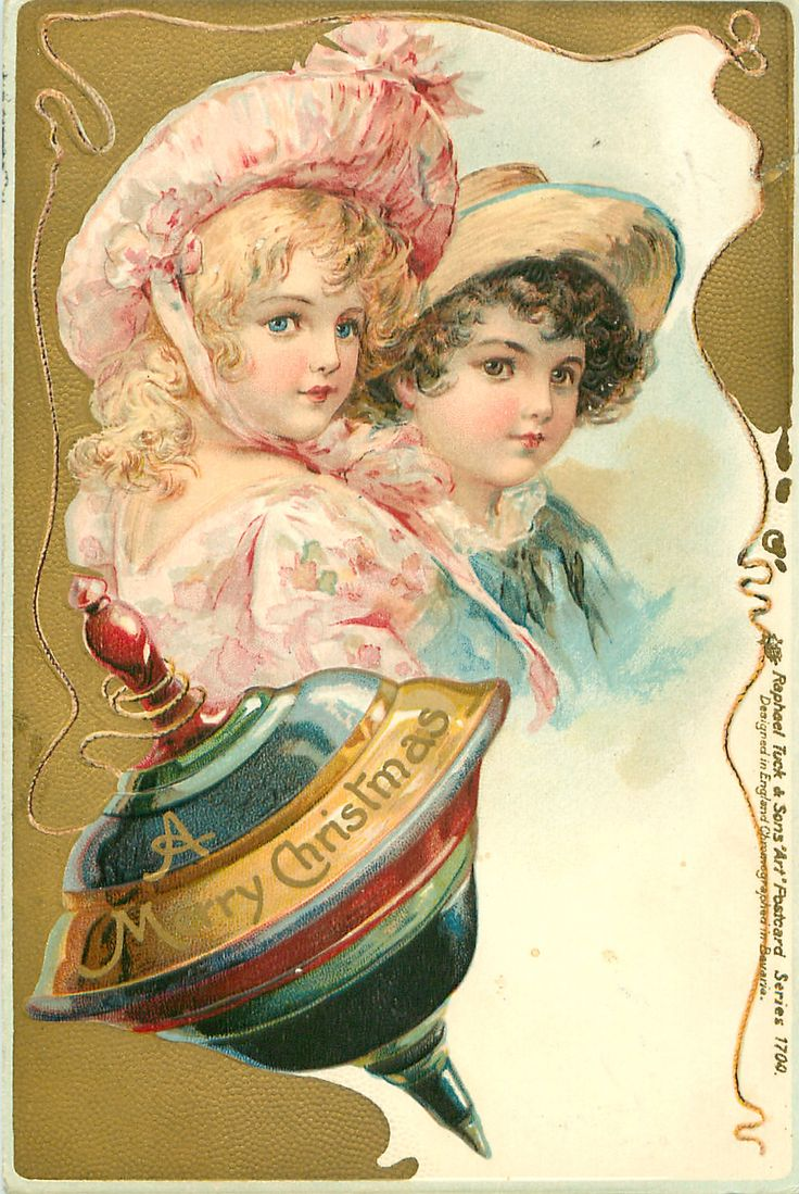 A MERRY CHRISTMAS boy & girl above spinning top - Art by FRANCES BRUNDAGE