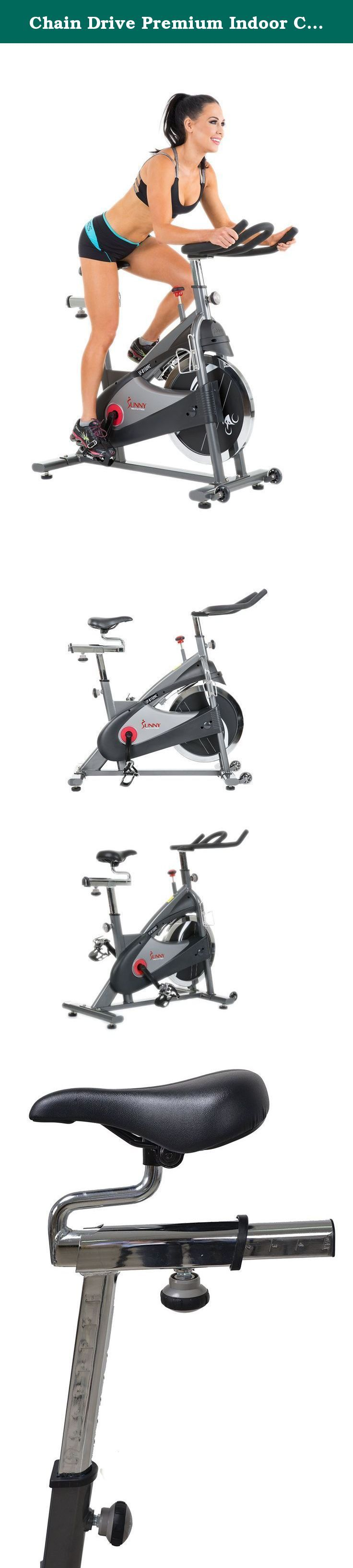 Chain Drive Premium Indoor Cycling Exercise Bike by Sunny Health & Fitness – SF-B1509C. Spin into shape with our new Sunny Health & Fitness chain drive premium indoor cycling bike! with a newly improved smoother and quieter chain drive system, fully adjustable seat and adjustable handlebars and resistance, the Sunny Health & Fitness chain drive premium indoor cycling bike is designed for performance, comfort and durability while also providing the challenging feel of outdoor cycling. The...