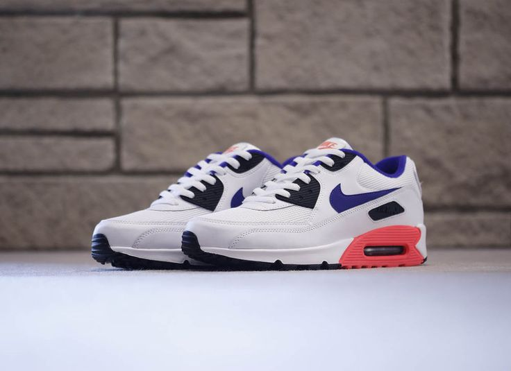 Nike air max 90 essential - white, marine, red & black sneakers in