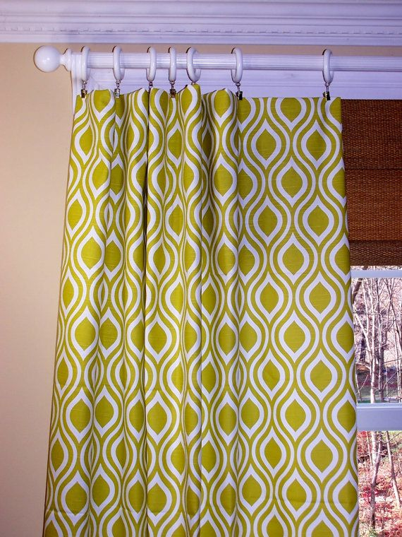 """New Modern Nicole Leaf CURTAINS Premier Fabric Artist Green White Two Drapery Panels Drapes Window Treatment 50"""" on Etsy, $109.00"""