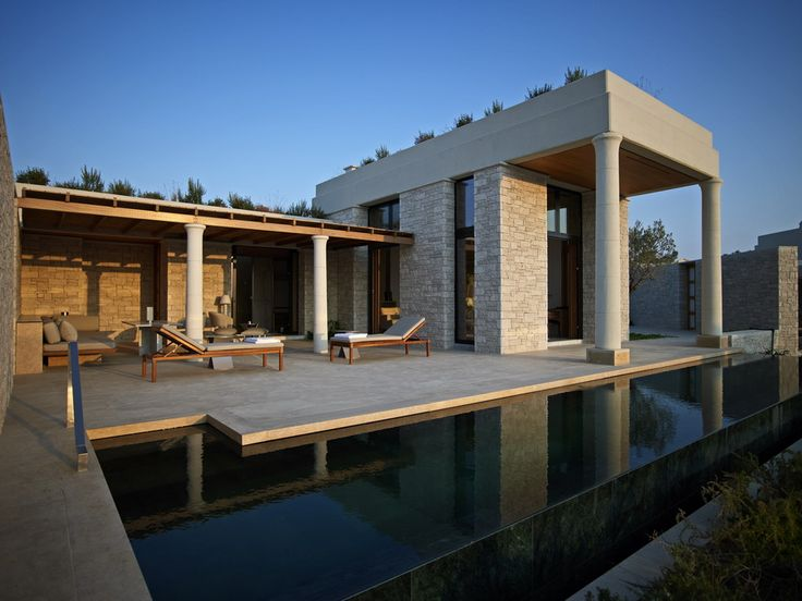 Aman Zoe in Greece - Amazing pool with green Indian marble surrounded by egyptian beige stone- Stonetech project - http://www.stonetechgroup.gr/en/apps/4/12/Pools
