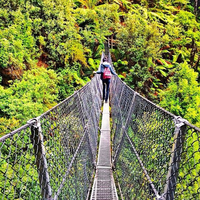 Crossing the suspension bridge at Montezuma Falls, on Tasmania's West Coast. Montezuma Falls is Tasmania's highest waterfall, and is located near the peaceful town of Rosebery. The name Montezuma – the last Aztec Emperor of Mexico – comes from the Montezuma Silver Mining Company, which was formed in 1891 and held leases on the northern slopes of nearby Mt. Dundas.  #discovertasmania #waterfall #westernwilderness #suspensionbridge #tasmania Image Credit: iamycel