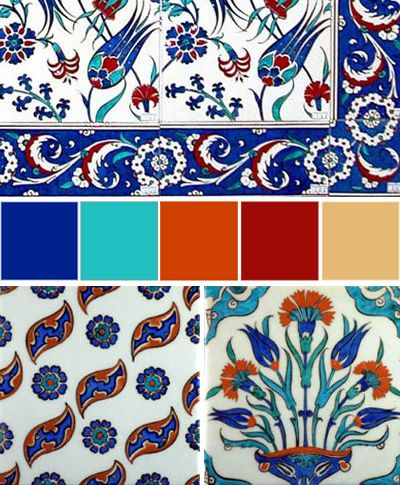 Not so much the patterns, but the color palette in the middle: blue, turquoise, rusty orange, rusty red, beige. Global Color: Turkish Tile Color Scheme