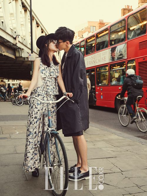 "Yoon Seung Ah & Kim Moo Yeol in ""On the Road"" for Elle Korea March 2015. Photographed by Mok Jung Wook"